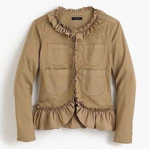J Crew Ruffle Chino Jacket Blazer Sz 8
